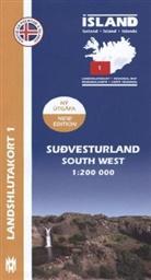 Island - Landshlutakort Sudvesturland. South West