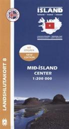 Island - Landshlutakort Mid-Island (Hochland / Mitte)