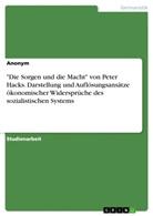 """Anonym - """"Die Sorgen und die Macht"""" von Peter Hacks. Darstellung und Auflösungsansätze ökonomischer Widersprüche des sozialistischen Systems"""