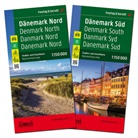 Freytag-Berndt und Artaria KG, Freytag-Bernd und Artaria KG - Freytag & Berndt Auto + Freizeitkarte Dänemark Nord/Süd, Autokarte 1:150.000, 2 Bl.. Denmark North/South / Danmark Nord/Syd / Dänemark du Nord/Sud