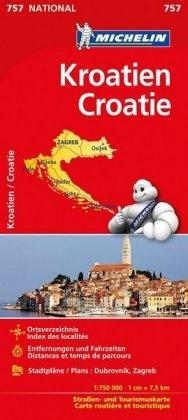 Michelin - Michelin Kroatien. Croatie - Straßen- und Tourismuskarte. Ortsverzeichnis, Entfernungen und Fahrtzeiten, Stadtpläne: Dubrovnik, Zagreb