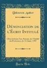 Unknown Author - Dénonciation de l'Écrit Intitulé