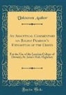 Unknown Author - An Analytical Commentary on Bishop Pearson's Exposition of the Creed