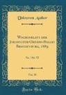 Unknown Author - Wochenblatt der Johanniter-Ordens-Balley Brandenburg, 1889, Vol. 30
