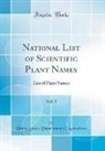 United States Department Of Agriculture - National List of Scientific Plant Names, Vol. 1