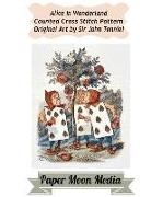 Paper Moon Media Cross Stitch, John Tenniel - Alice in Wonderland Counted Cross Stitch Pattern: Alice Playing Cards