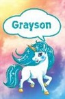 Rob Cole - Grayson: Unicorn Personalized Name Notebook Journal Diary Sketchbook with 120 Lined Pages 6x9
