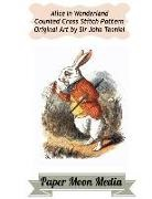 Paper Moon Media Cross Stitch, John Tenniel, Paper Moon Media Cross Stitch - Alice in Wonderland Counted Cross Stitch: White Rabbit