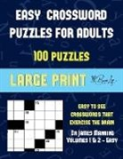 James Manning - Easy Crossword Puzzles for Adults (Vols 1 & 2 - Easy): Large print game book with 100 crossword puzzles: One crossword game per two pages: All crosswo