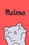 Kreativ Malbuch - Malena: Din A5 - Blanko 110 Seiten - Mein Malbuch - Personalisierter Kalender - Vornamen - Schönes Notizbuch - Notizblock Rot