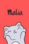 Kreativ Malbuch - Malia: Din A5 - 110 Blanko Seiten - Mein Malbuch - Personalisierter Kalender - Vornamen - Schönes Notizbuch - Notizblock Rot