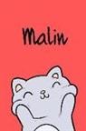 Kreativ Malbuch - Malin: Din A5 - 110 Seiten Blanko - Mein Malbuch - Personalisierter Kalender - Vornamen - Schönes Notizbuch - Notizblock Rot