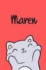 Kreativ Malbuch - Maren: Din A5 - 110 Seiten Blanko - Mein Malbuch - Personalisierter Kalender - Vornamen - Schönes Notizbuch - Notizblock Rot