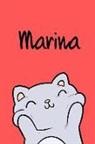 Kreativ Malbuch - Marina: Din A5 - Blanko 110 Seiten - Mein Malbuch - Personalisierter Kalender - Vornamen - Schönes Notizbuch - Notizblock Rot