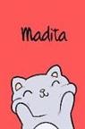 Kreativ Malbuch - Madita: Din A5 - 110 Seiten Blanko - Mein Malbuch - Personalisierter Kalender - Vornamen - Schönes Notizbuch - Notizblock Rot