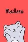 Kreativ Malbuch - Madleen: Din A5 - Blanko 110 Seiten - Mein Malbuch - Personalisierter Kalender - Vornamen - Schönes Notizbuch - Notizblock Rot
