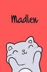 Kreativ Malbuch - Madlen: Din A5 - Blanko 110 Seiten - Mein Malbuch - Personalisierter Kalender - Vornamen - Schönes Notizbuch - Notizblock Rot