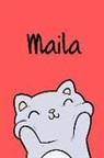 Kreativ Malbuch - Maila: Din A5 - 110 Seiten Blanko - Mein Malbuch - Personalisierter Kalender - Vornamen - Schönes Notizbuch - Notizblock Rot