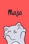 Kreativ Malbuch - Maja: Din A5 - Blanko 110 Seiten - Mein Malbuch - Personalisierter Kalender - Vornamen - Schönes Notizbuch - Notizblock Rot