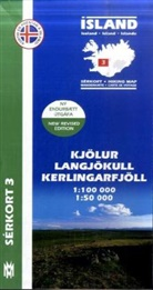 Island - Sérkort Kjölur, Langjökull, Kerlingarfjöll