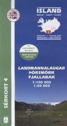 Island - Sérkort Landmannalaugar, Pórsmörk, Fjallabak. Iceland / Islande