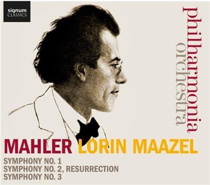 BBC Symphony Chorus, Tiffin Boys Choir, Philharmonia Voices, Gustav Mahler (1860-1911), Lorin Maazel, … - Symphony No.1, 2 + 3 (3 CDs)