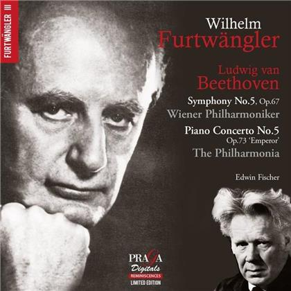 Ludwig van Beethoven (1770-1827), Wilhelm Furtwängler, Edwin Fischer, Wiener Philharmoniker & The Philharmonia - Concerto Pour Piano No 5, Symphony No 5 (Limited Edition, SACD)