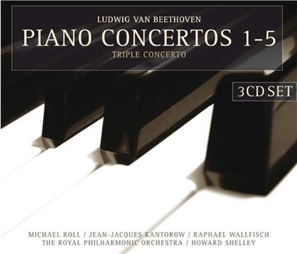 Ludwig van Beethoven (1770-1827), Howard Shelley, Jean-Jacques Kantorow, Raphael Wallfisch, Michael Roll, … - Piano Concertos 1-5, Triple Concerto (3 CDs)