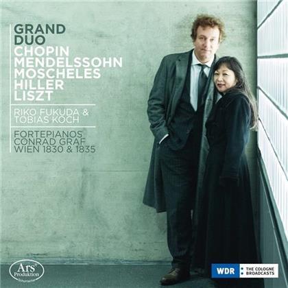 Frédéric Chopin (1810-1849), Ignaz Moscheles (1794-1870), Felix Mendelssohn-Bartholdy (1809-1847), Ferdinand Hiller (1811-1885), Franz Liszt (1811-1886), … - Grand Duo