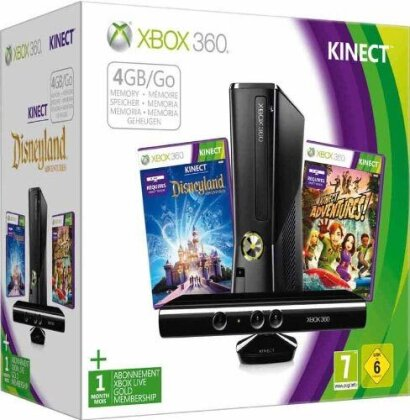 XB360 Konsole 4GB + Kinect +Disneyland + Kinect Adventures
