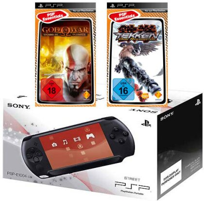 PSP Konsole Street E1004 + 2 Games God of War Chains..+ Tekken Dark Resurr.