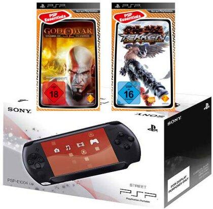 PSP Konsole Street E1004 + 2 Games God of War Chains..+ Tekken Dark Resurr.