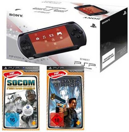 PSP Konsole E1004 + Syphon Filter Dark Socom Fireteam Bravo 3