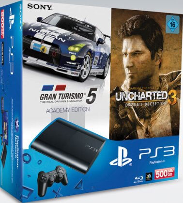 Sony PS3 500GB + Uncharted 3 GOTY +GT5 Academy Edition
