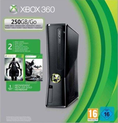 XB360 Konsole 250 GB + Batman AC + DS2 Batman Arkham City + Darksiders 2 +1MXBL