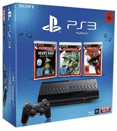 Sony PS3 12 GB + 3 Essential Games GoW 3 + Heavy Rain + Uncharted 1