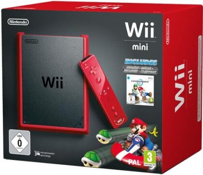 Wii Konsole mini red Mario Kart Bundle inkl. Remote Plus red + Nunchuk red
