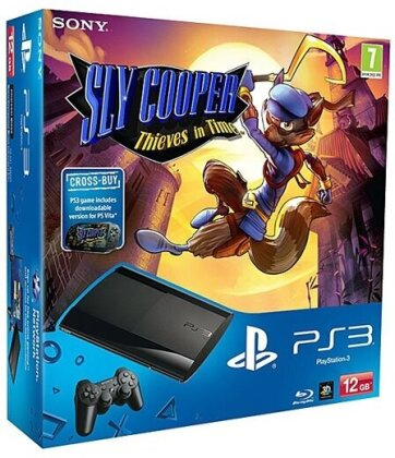 PlayStation 3 12 GB, black + Sly Cooper: Thieves in Time