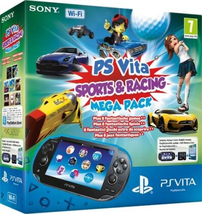 PSVita Konsole WiFi Mega Pack Sport Racing + 8GB Memo + DLC für 8 Games