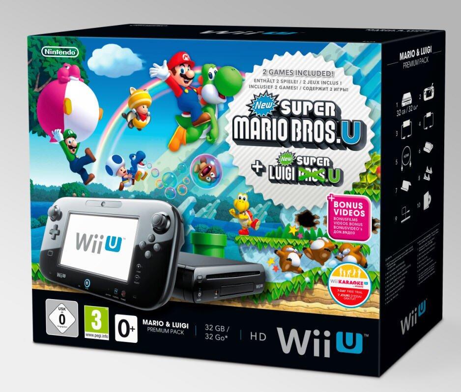 WiiU Konsole black Premium & Mario + Luigi