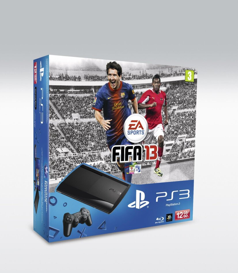 Sony Playstation 3 Console 12 GB Super Slim incl. Fifa 13 and 2 Dualshock 3 Controller Black