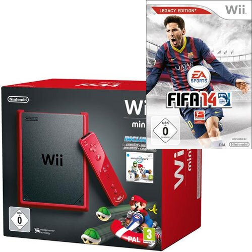 Wii Konsole mini red Mario Kart Bdl. inkl.Remote Plus red+Nunchuk red+ Fifa14