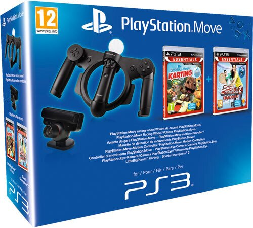 Playstation Move Starter Pack incl. Little Big Planet Karting, Sports Champions 2, Move Racing Wheel