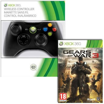 XB360 Controller original black + Spiel Gears of War 3