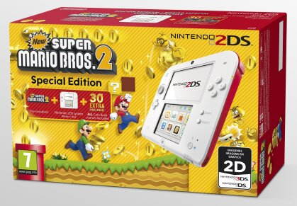 2DS Konsole weißrot + New Super Mario 2