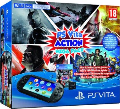 PSVita Konsole WiFi Mega Pack Action inkl. 8GB Memo + DLC für 5 Games