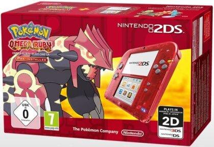 2DS Konsole Transparent Rot + Pokemon Rubin
