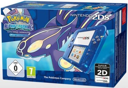 2DS Konsole Transparent blau + Pokemon Saphir