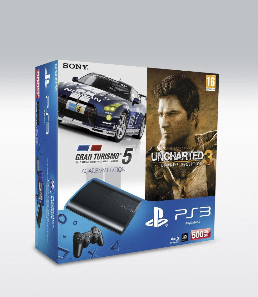 Playstation 3 Console 500 GB Super Slim inkl. Uncharted 3 GotY & Gran Turismo 5 Academy Edition