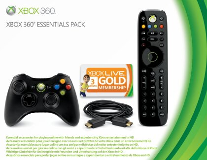 Xbox360 Essentials Pack (Wireless Controller, HDMI Cable, Wireless Media Remote, Live 3-Mo Gold Card)